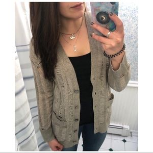 [360 Cashmere] Beige Distressed Pocketed Cardigan